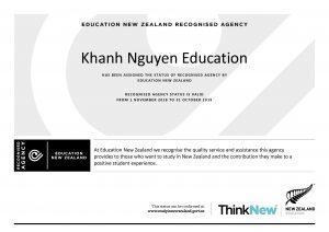 Chứng nhận đại lý tuyển sinh New Zealand của Du Học Khánh Nguyễn